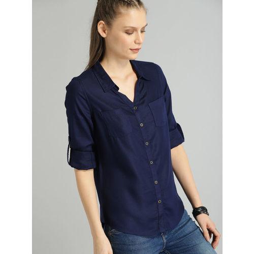 Roadster Women Navy Blue Regular Fit Solid Casual Shirt