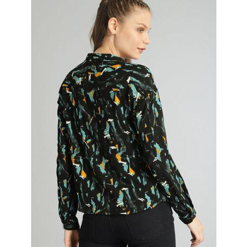 Roadster Women Black Regular Fit Printed Casual Shirt