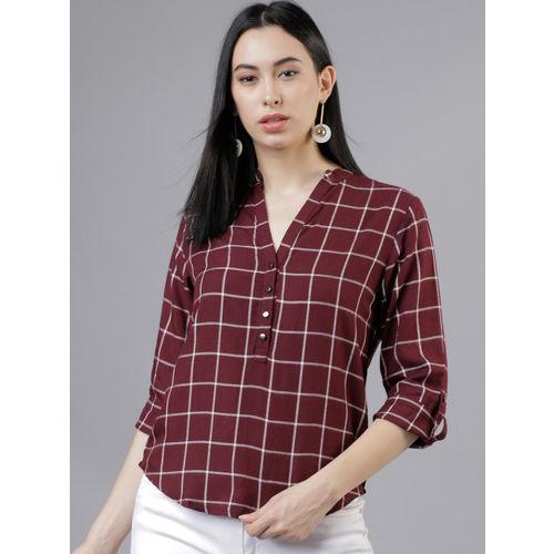 Tokyo Talkies Women Maroon Regular Fit Checked Casual Shirt
