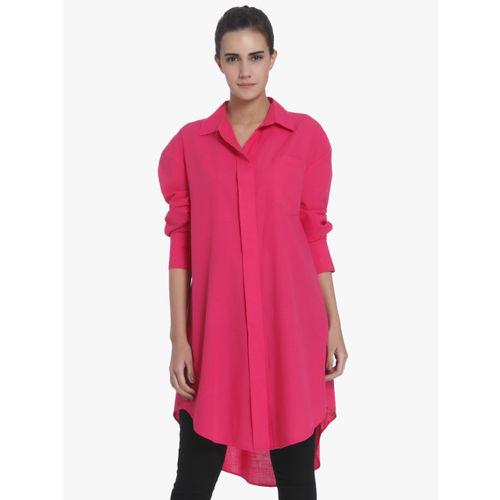 Vero Moda Women Pink Regular Fit Solid Longline Shirt