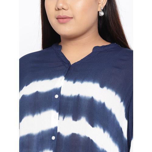 aLL Women Navy Blue & White Regular Fit Striped Casual Shirt
