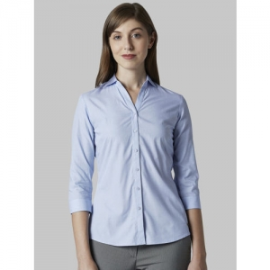 Park Avenue Women Blue Regular Fit Solid Formal Shirt