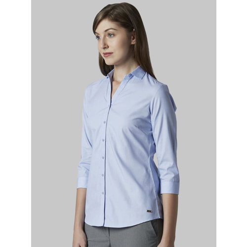 Park Avenue Women Blue Regular Fit Solid Formal Shirt