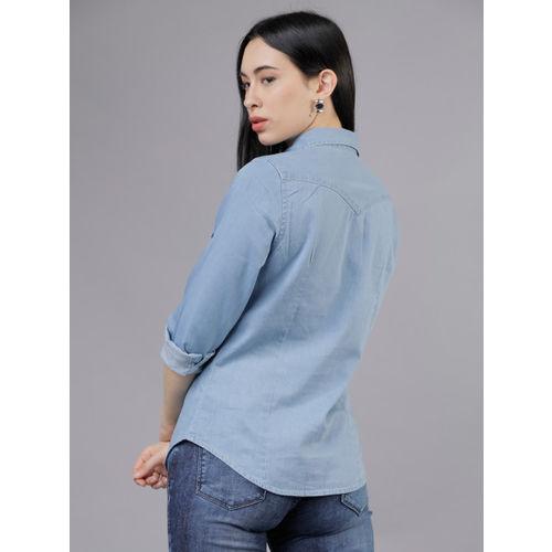 Tokyo Talkies Women Blue Slim Fit Solid Casual Shirt