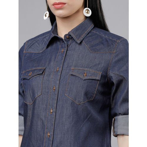 Tokyo Talkies Women Navy Blue Slim Fit Solid Casual Shirt