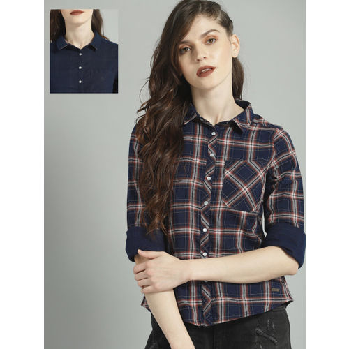 Roadster Women Navy Blue & Red Regular Fit Checked Reversible Casual Shirt