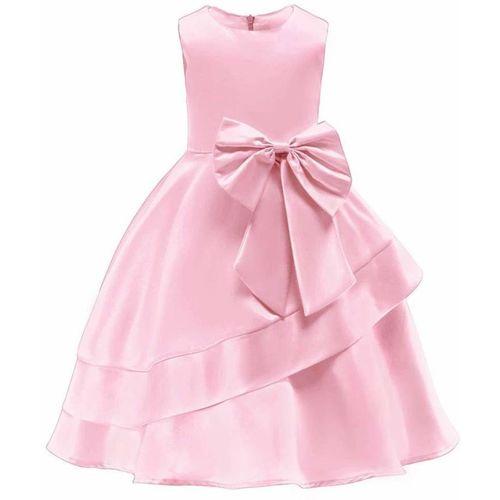 Rcube Girls Maxi/Full Length Party Dress(Pink, Sleeveless)