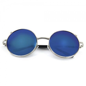 Onewy Vintage Retro UV Round Flip Up Sunglasses Blue Lens Glasses-(UNISEX)