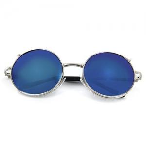 Onewy Vintage Retro UV Round Flip Up Sunglasses Blue Lens Glasses-(UNISEX)