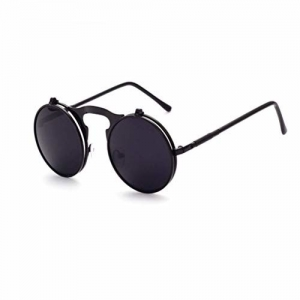 Quotrade Round Polarized Coating Mirror with Black Metal Frame Antique Flip up Sunglasses for Men and Women (Lens C2)