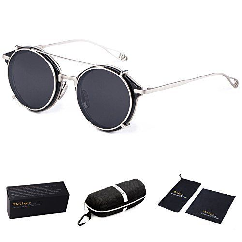 Dollger Double Lens Flip Dual Steampunk Silver Frame Unisex Sunglasses (4331584804, Black)