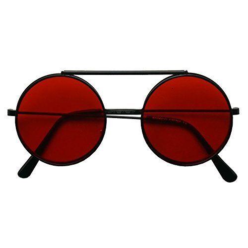 SunglassUP Round Colored Flip-Up Django Inspired Clear lens Sunglasses (Black / Red Lens