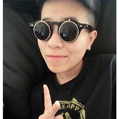 MKchung Steampunk Goth Goggles Glasses Retro Flip Up Round Sunglasses