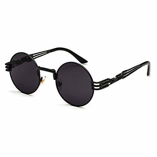 kachawoo Retro Steampunk Sunglasses Men Metal Round Sun Glasses for Women Summer Gift