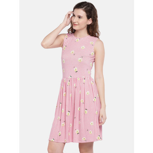 Globus Women Fit and Flare Pink Dress