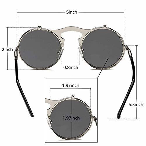 Dollger Round Sunglasses for Men women Retro SteamPunk Style Flip Up Mirror Circle Sun Glasses (Silver Frame, Black Lens)