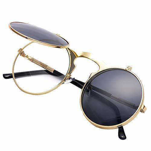 COASION Retro Metal Flip Up Round Circle Frame Steampunk Sunglasses for Men Women (Gold Frame/Black Lens