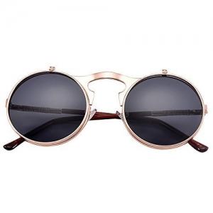 COASION Vintage Round Flip Up Sunglasses for Men Women Juniors John Lennon Style Circle Sun Glasses(Rose Gold Frame/Black Lens)