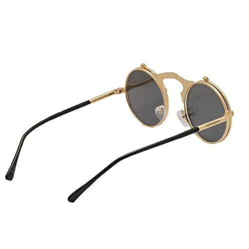 yen jean 80's Boho Chic Gothic Steampunk Sidestreet Grey Flip-up Round Mirror Lens Metal Frame Unisex Sunglasses