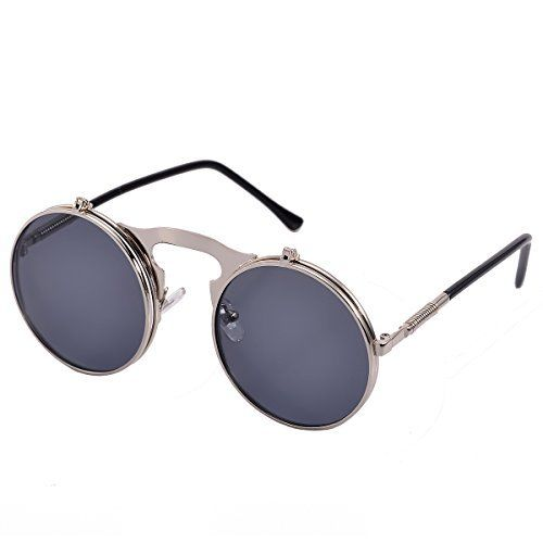 COASION Retro Metal Flip Up Round Circle Frame Steampunk Sunglasses for Men Women (Silver Frame/Black Lens, 46)