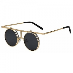 Quotrade XIU Flip up Polarized Steampunk Metal Vintage Men's and Women's Sunglasses