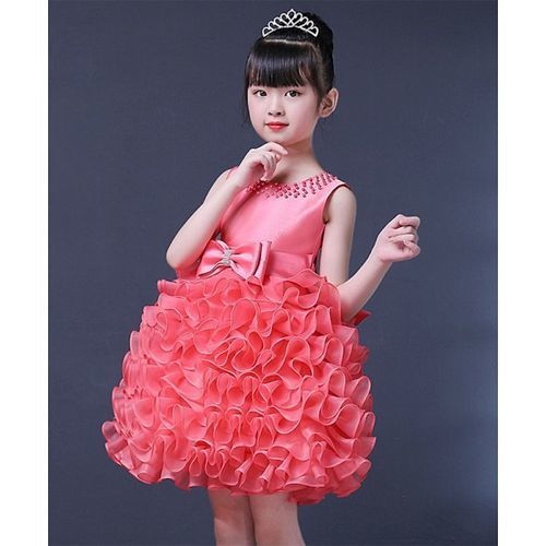 Pre Order - Awabox Fluffy Frill Sleeveless Dress With Pearl Detailing Neckline - Pink