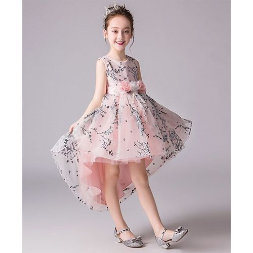 Pre Order - Awabox All Over Flower Lace Sleeveless High Low Dress - Light Pink