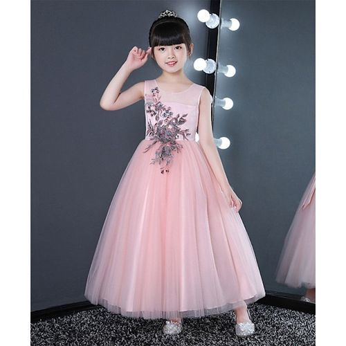 Pre Order - Awabox Floral Patch Work Sleeveless Tulle Flare Gown - Light Pink