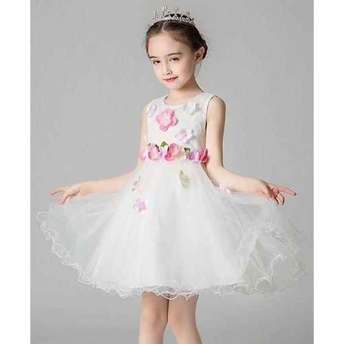 Pre Order - Awabox Colourful Flower Applique Sleeveless Tulle Flare Dress - White