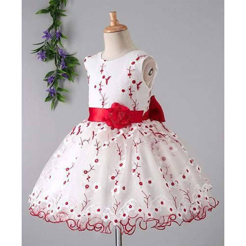 Babyhug Sleeveless Party Frock Floral Embroidery - White Red