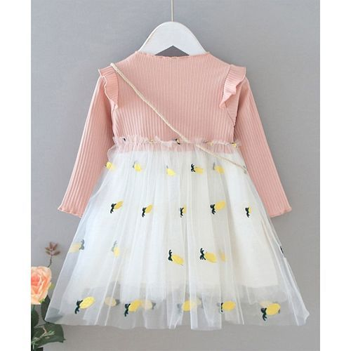 Pre Order - Awabox Pineapple Embroidered Full Sleeves Tulle Flare Dress With Pineapple Shaped Bag - Light Pink
