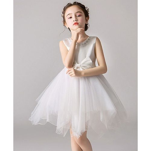 Pre Order - Awabox Bow Knot Sleeveless Tulle Flare Dress With Pearl Detailing Neckline - White