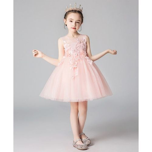 Pre Order - Awabox Flower Embroidered Sleeveless Tulle Flare Dress - Light Pink