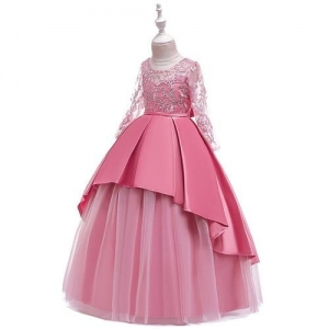 Pre Order - Awabox Full Sleeves Floral Embroidered Studded Gown - Pink