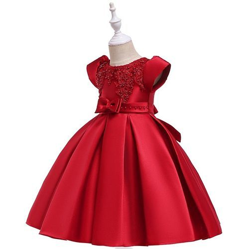 Pre Order - Awabox Cap Sleeves Floral Embroidered Pearl Detailed Ball Gown Flare Dress - Red