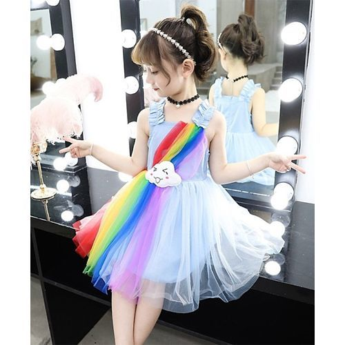 Pre Order - Awabox Cloud Patch Sleeveless Rainbow Multicolor Tulle Netted Dress - Blue