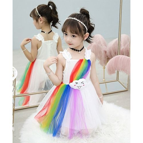 Pre Order - Awabox Cloud Patch Sleeveless Rainbow Multicolor Tulle Netted Dress - White