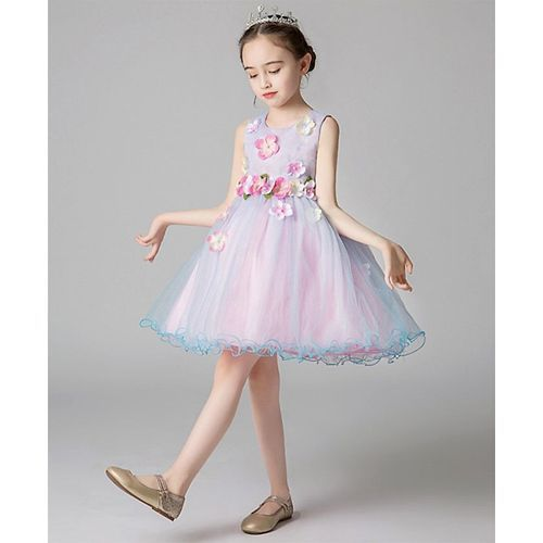 Pre Order - Awabox Colourful Flower Applique Sleeveless Tulle Flare Dress - Light Blue