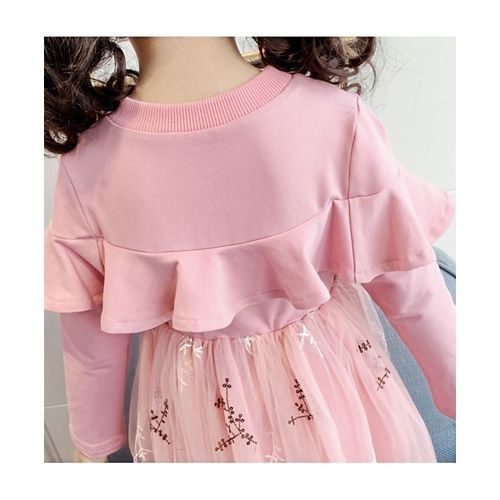 Pre Order - Awabox Creepers Embroidered Full Sleeves Tulle Flare Dress - Light Pink