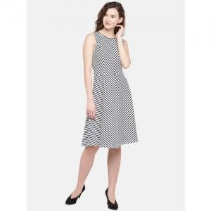 Globus Women White & Black Printed A-Line Dress