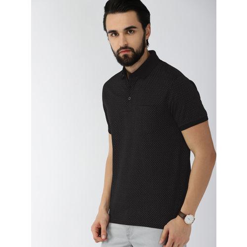 Indian Terrain Men Black Printed Polo Collar T-shirt