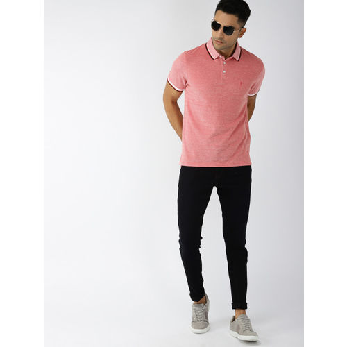 Indian Terrain Men Red Solid Polo Collar T-shirt