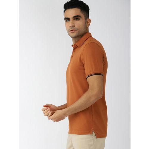 Indian Terrain Men Brown Solid Polo Collar T-shirt