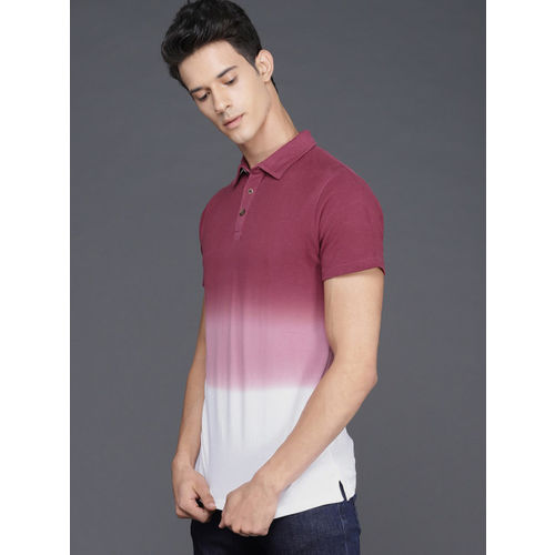 WROGN Men Maroon & White Dyed Polo Collar T-shirt With An Ombre Effect