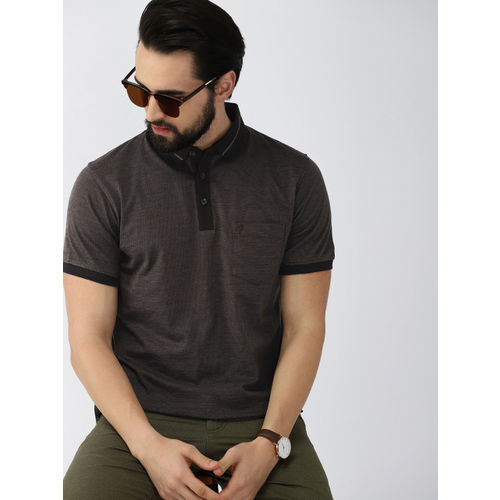 Indian Terrain Men Charcoal Grey Solid Polo Collar T-shirt