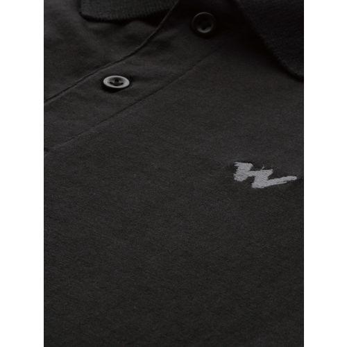 Wildcraft Men Black Printed Polo Collar T-shirt