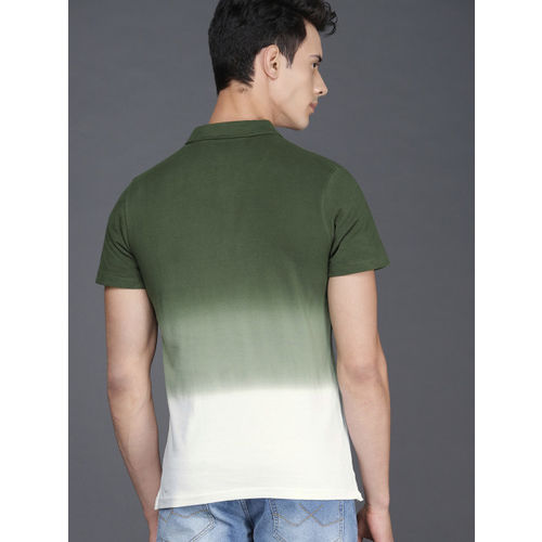 WROGN Men Olive Green & White Dyed Polo Collar T-shirt With An Ombre Effect