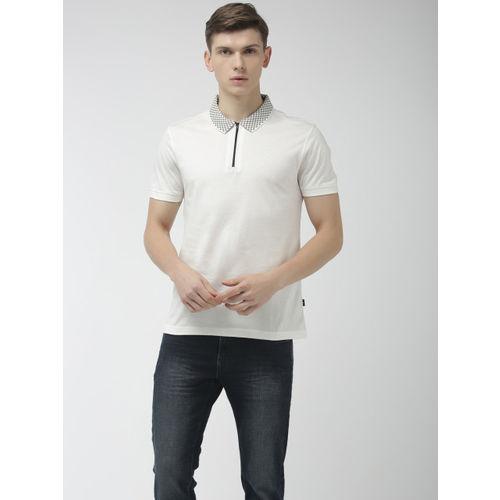 Flying Machine Men White Printed Polo Collar T-shirt