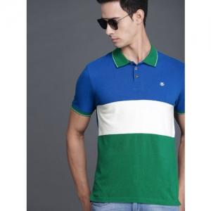 WROGN Men Blue & White Colourblocked Polo Collar T-shirt