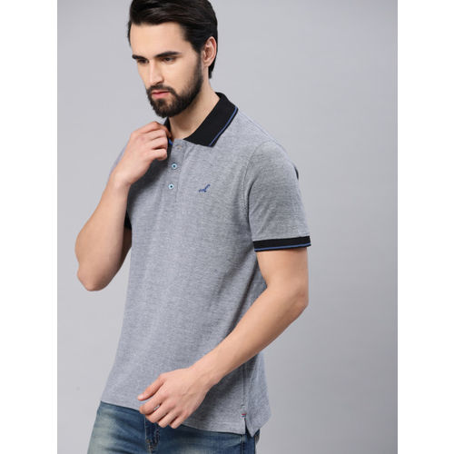 American Crew Men Grey Solid Polo Collar T-shirt